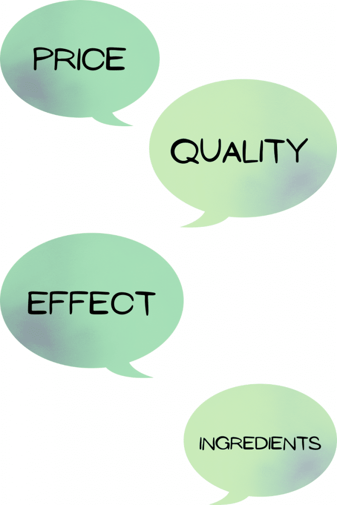 Price, quality, outcome, contents